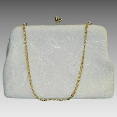 Snow White Seed Bead Evening Handbag ~ Removable Gold Chain Strap