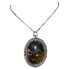 """Navajo Jasper """"Cosmos"""" Custom Made Pendant on Sterling Silver Chain - Red Tag Sale Item"""