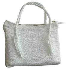 Snow White Soft Straw Weaved Rope Handle Handbag Purse