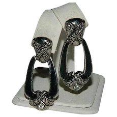 Avon Marcasite Enamel Door Knocker Earrings ~ Pierced Ears