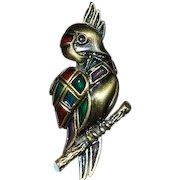 Vintage Plique a Jour Parrot Pin Brooch