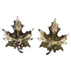 """Sarah Coventry """"Designer's Choice"""" Gold Plated Maple Leaf Rhinestone Earrings"""