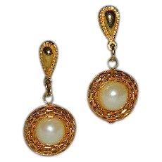 Avon Mesh Faux Pearl Dangler Earrings ~ Pierced