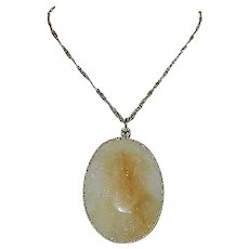 100ct Citrine And Quartz Double Sided Faceted Pendant in Sterling Silver
