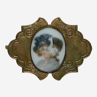 Antique Victorian Hand Painted Lady Brooch ~ Brass Porcelain