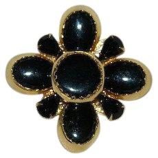 Massive Black Maltese Style Cross Brooch