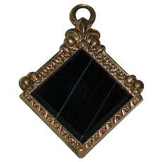 Antique Scottish Black Banded Agate Jasper Kilt Charm or Pendant