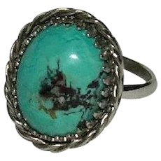 Pretty Little Turquoise STerling Silver Braided Rings sz 6