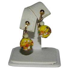 Fantastic Italian Art Glass Birthday Cake Glass Beaded Earrings