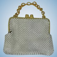 Whiting and Davis White Mesh & Cream Celluloid Chain Handle and Clasp