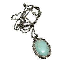 """Hand Crafted Powder Blue Turquoise Cab Pendant on 24"""" Chain"""