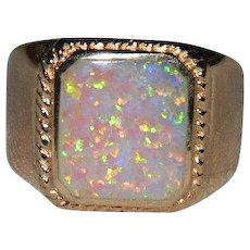 Rich Gold Over Sterling Synthetic Fire Opal Ring sz 10.5