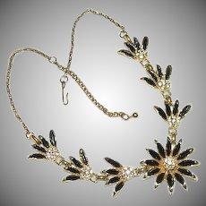 In Original Box Black Gold Enamel Rhinestone Floral Spray Necklace ~ 1960