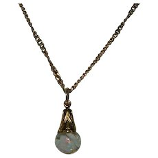 Vintage Gold Filled Floating Opal Pendant on 20' Gold Plated Chain