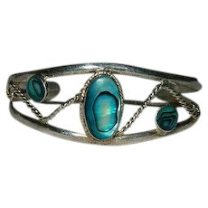 Mexico Sterling Silver Abalone Shell Cuff Bracelet