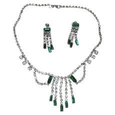 Glamorous Emerald Green Rhinestone Festoon Necklace & Earring Set