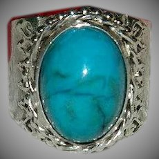 Finest Morenci Turquoise Cigar Band Custom Made Ring sz 12
