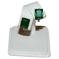 Art Deco Sterling Silver Emerald Cut Green Glass Earrings