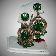 Weiss Green Glass Mesh Hoop Earrings ~ Gorgeous!!