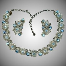 Shimmering Sky Blue Rhinestone Silver Tone Floral Demi Parure Necklace Earring Set