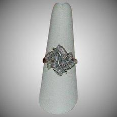 Vintage 1 Ct White Sapphire Swirl Bursting Sterling Silver Ring sz 8