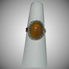 Chocolate Opal Handcrafted Sterling Silver Ring sz 7