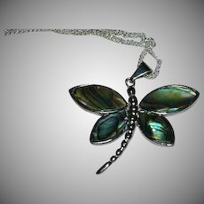 """Abalone Shell Dragonfly Pendant on Sterling Silver Chain 22"""""""