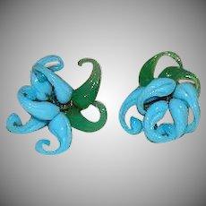 Unique Robin's Egg Blue Green Blown Glass Omega Back Earrings