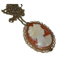 Coiffed Lady Genuine Cameo Brooch Pendant 12k GF - Red Tag Sale Item