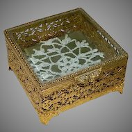 Beveled Glass Pane Filigree Brass Jewelry Casket