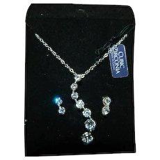 Sterling Silver Cubic Zirconia Eternity Necklace & Earring Set