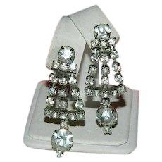 Stunning 1950's Rhinestone Dangler Earrings