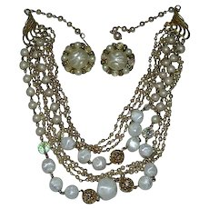 Glamorous 8 Strand Faux Pearls AB Crystals Beads Necklace & Earrings Set