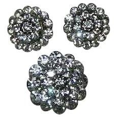 Vintage Large Domed Rhinestone Brooch & Earrings Set