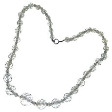 Art Deco Rock Crystal Faceted Beads on Sterling Silver Chain 14""