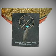 Sterling Silver Genuine Indian Made Dream Catcher Charm w/ Turquoise and Feather