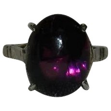 Amethyst Purple Glass Stone Sterling Silver Ring sz 5.5