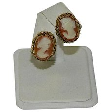 Genuine Shell Cameo Gold Filled Earrings D'Or