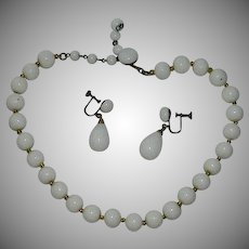 Sleek Japan Import Milk Glass Necklace & Earring Set