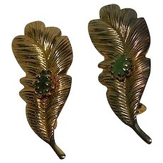 Two Brass Stamped Jadeite Feather Brooches Scatter Pins