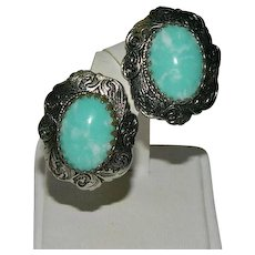 Vintage South Western Faux Turquoise Earrings