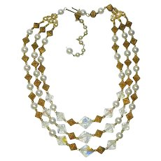 """Vintage Egyptian Revival Crystals & Brass Triple Strand Necklace 18"""""""
