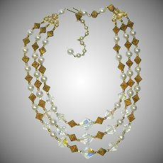 Vintage Egyptian Revival Crystals & Brass Triple Strand Necklace 18""