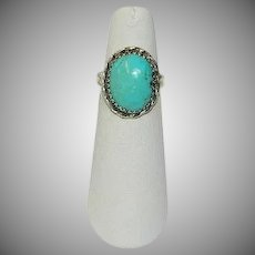 Hand Made Kingman Turquoise Cab Sterling Silver Ring sz 6.5