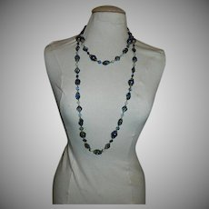 Opera Length Royal Blue Opaline and Moonglow Beaded Necklace from Germany