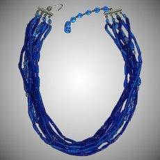 Vintage Cobalt Blue Glass Multi Strand Necklace 15""