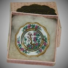 Vintage Coalport Fine English Bone China Plate Brooch in Original Box