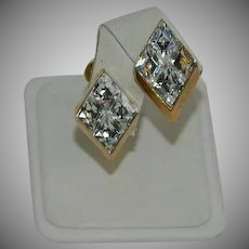 Spectacular Glamour Art Deco Diamond Cut Rhinestone Earrings
