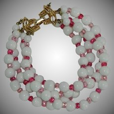 Marvella Summer White and Pink Beaded 4 Strand Bracelet