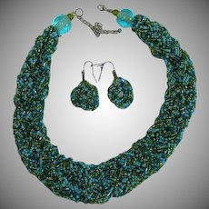 Impressive Wide Seed Bead Torsade Necklace and Earring Set